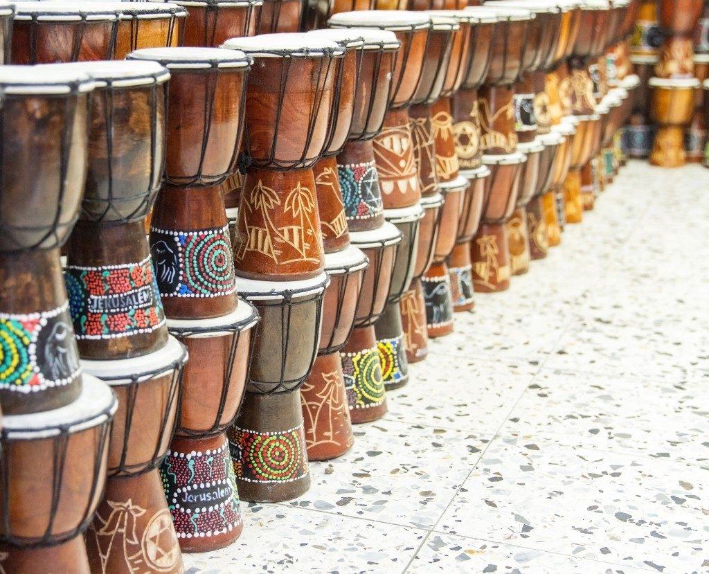 Drum souvenirs displayed