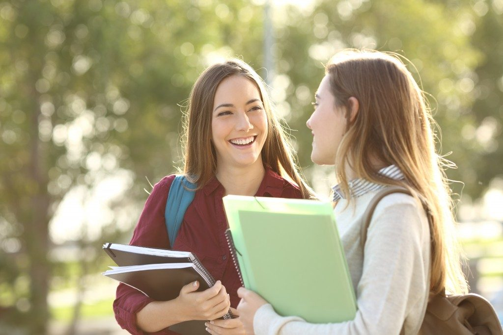 Two university students talking