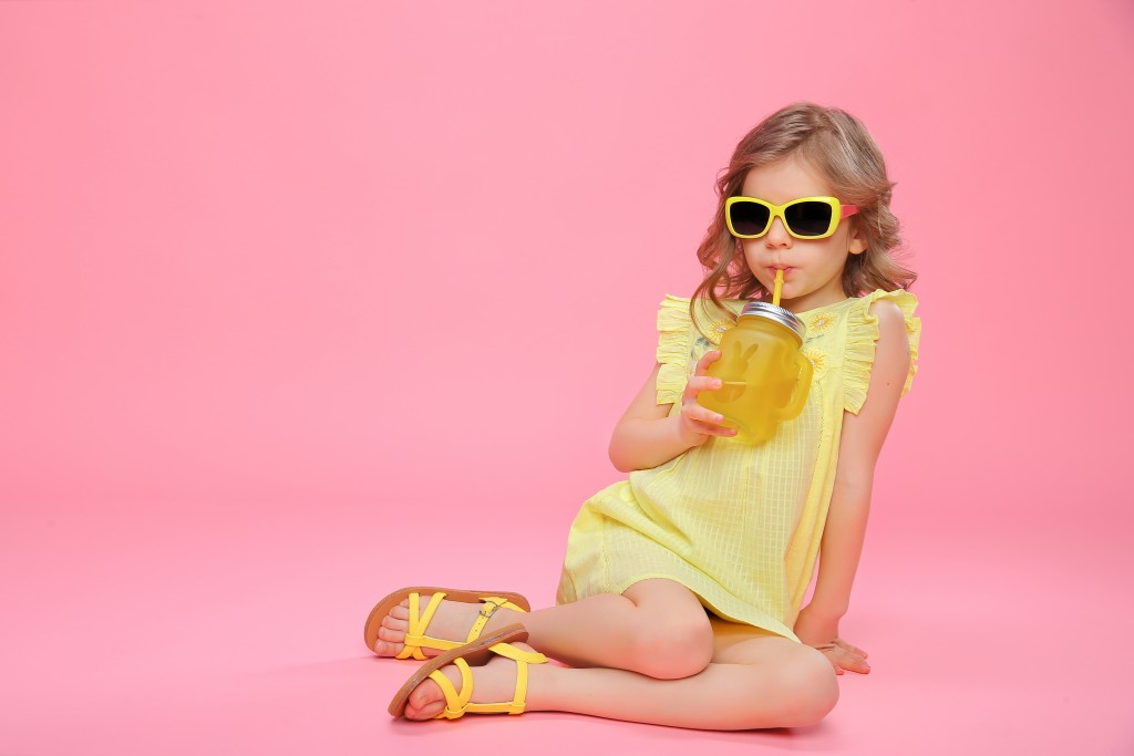 stylish kid in yellow