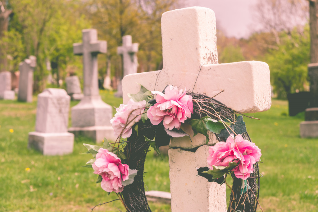 flower wreath on a tombstone